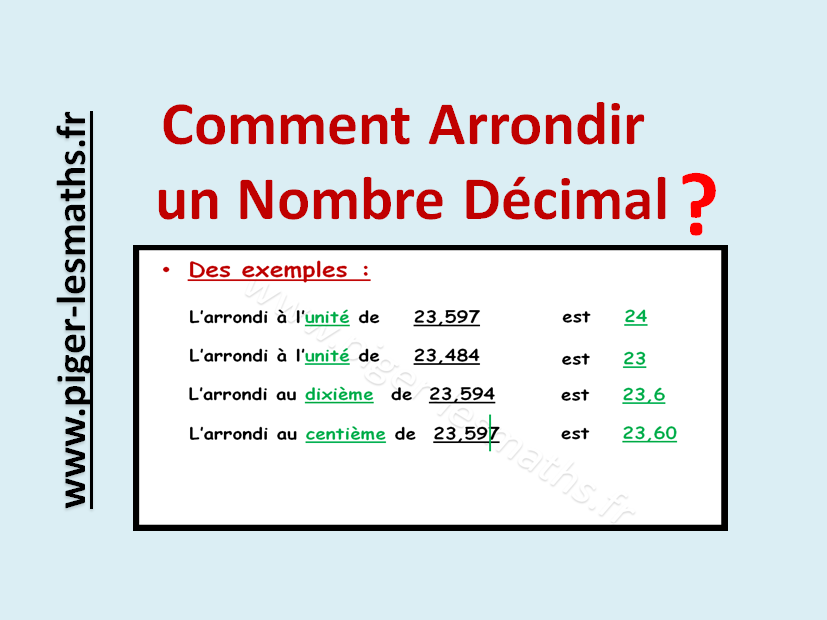 Arrondir Un Nombre Decimal Rappel Du Tableau De Numeration Decimal